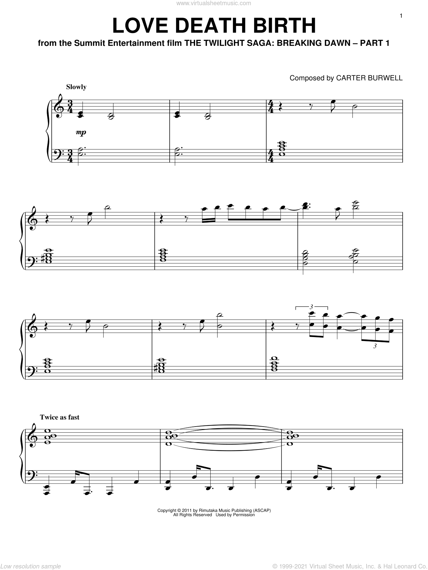 Love Death Birth sheet music for piano solo by Carter Burwell and Twilight: Breaking Dawn (Movie), intermediate piano. Score Image Preview.