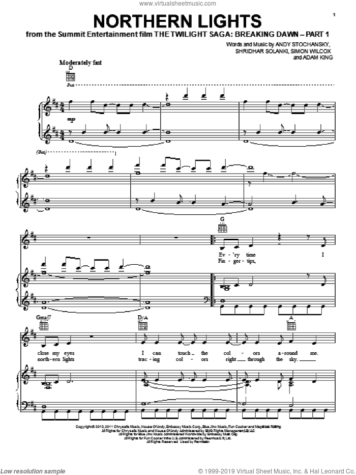 (Movie) - Northern Lights for voice, piano or guitar interactive sheet music