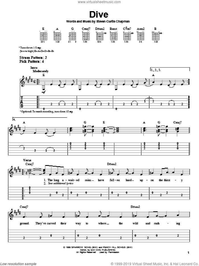 Dive sheet music for guitar solo (easy tablature) by Steven Curtis Chapman, easy guitar (easy tablature)