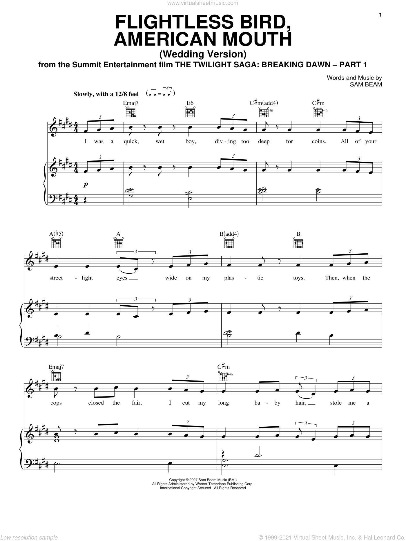Flightless Bird, American Mouth (Wedding Version) sheet music for voice, piano or guitar by Iron & Wine and Twilight: Breaking Dawn (Movie), intermediate skill level