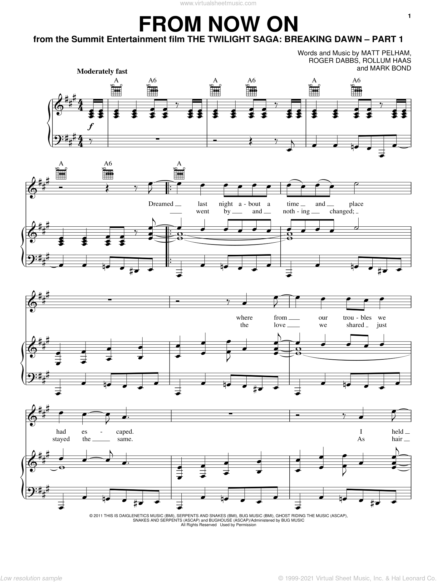 From Now On sheet music for voice, piano or guitar by The Features and Twilight: Breaking Dawn (Movie). Score Image Preview.