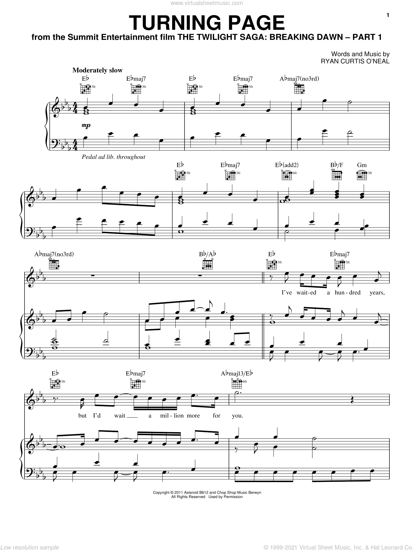 Turning Page sheet music for voice, piano or guitar by Sleeping At Last and Twilight: Breaking Dawn (Movie), intermediate skill level