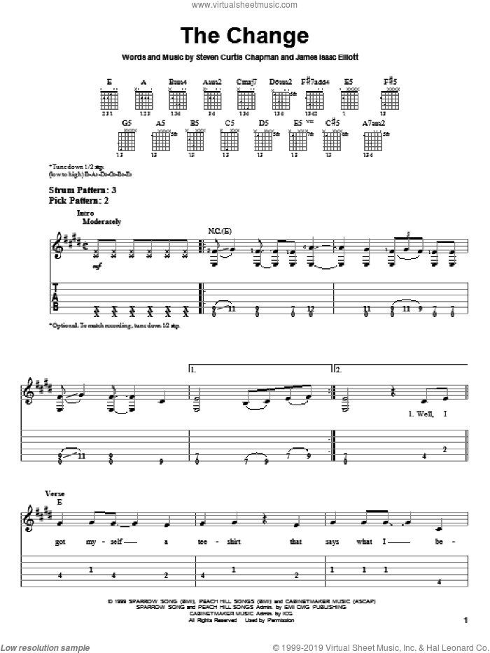 The Change sheet music for guitar solo (easy tablature) by Steven Curtis Chapman and James Isaac Elliott, easy guitar (easy tablature)