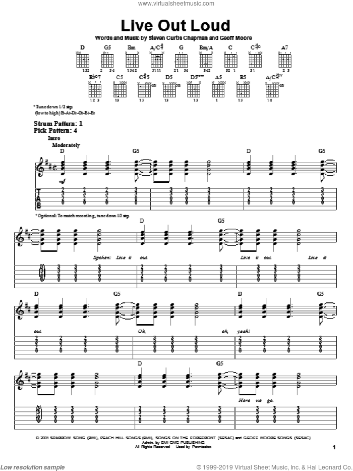 Live Out Loud sheet music for guitar solo (easy tablature) by Steven Curtis Chapman and Geoff Moore, easy guitar (easy tablature)