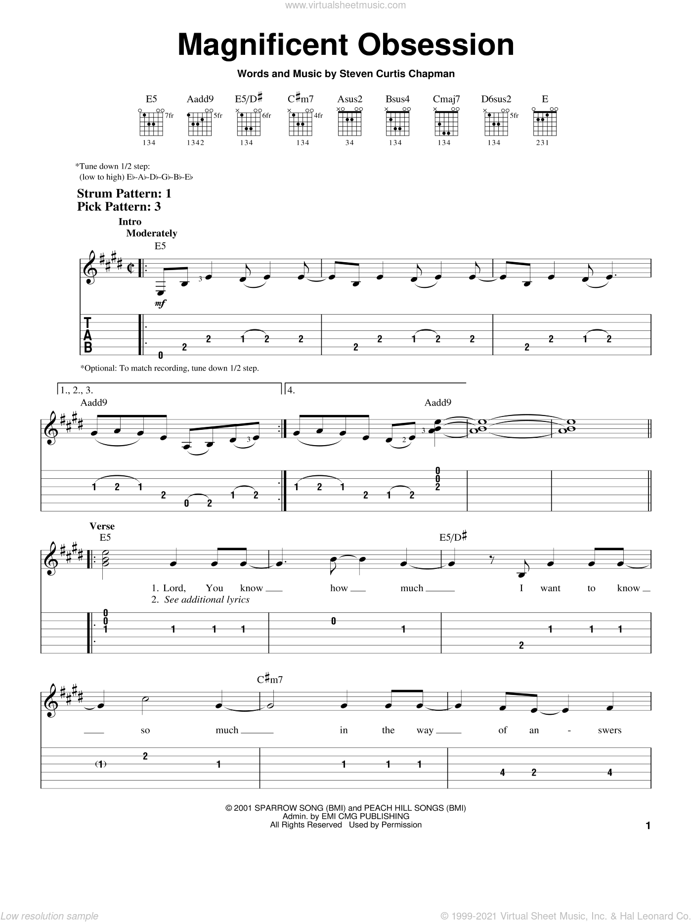 Magnificent Obsession sheet music for guitar solo (easy tablature) by Steven Curtis Chapman, easy guitar (easy tablature)