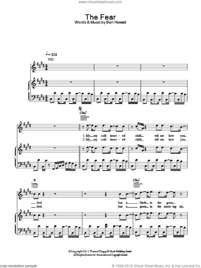 The Fear sheet music for voice, piano or guitar by Ben Howard. Score Image Preview.