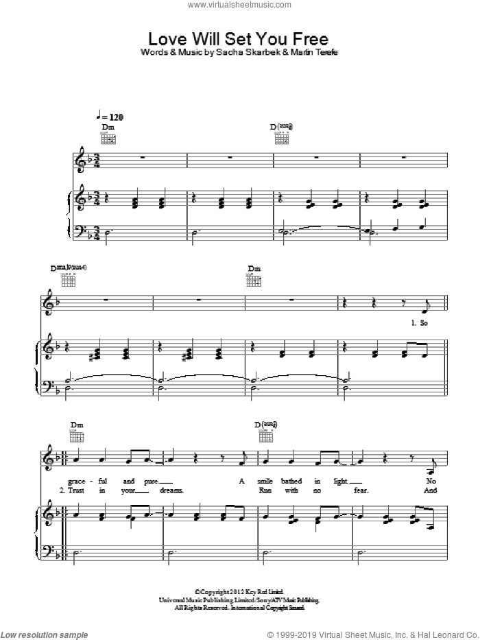 Love Will Set You Free sheet music for voice, piano or guitar by Sacha Skarbek