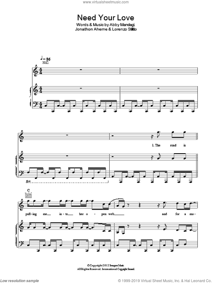 Need Your Love sheet music for voice, piano or guitar by The Temper Trap, Abby Mandagi, Jonathon Aherne and Lorenzo Stillitto, intermediate skill level