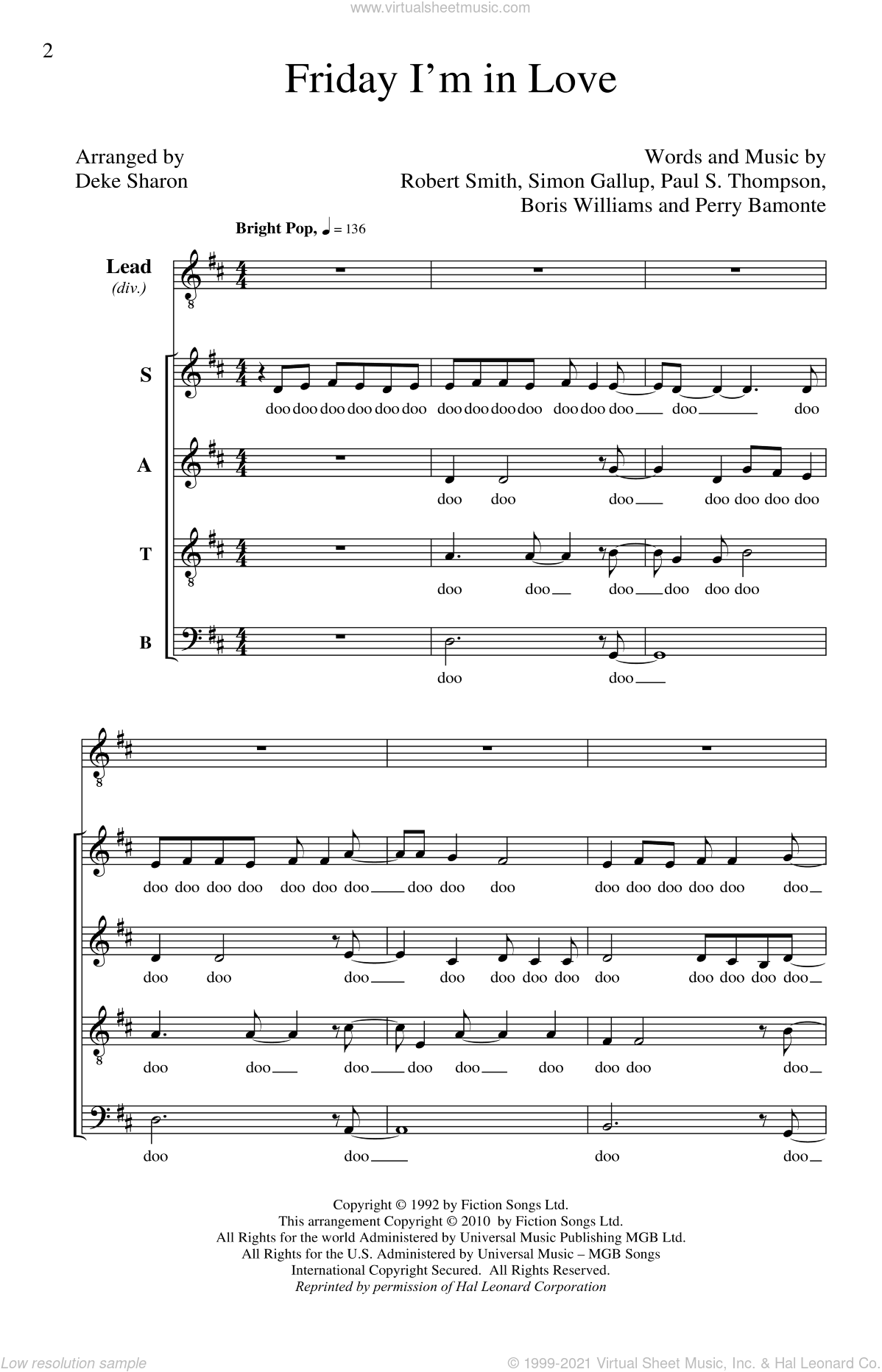 Friday I'm In Love sheet music for choir (SATB: soprano, alto, tenor, bass) by Deke Sharon and The Cure, intermediate skill level