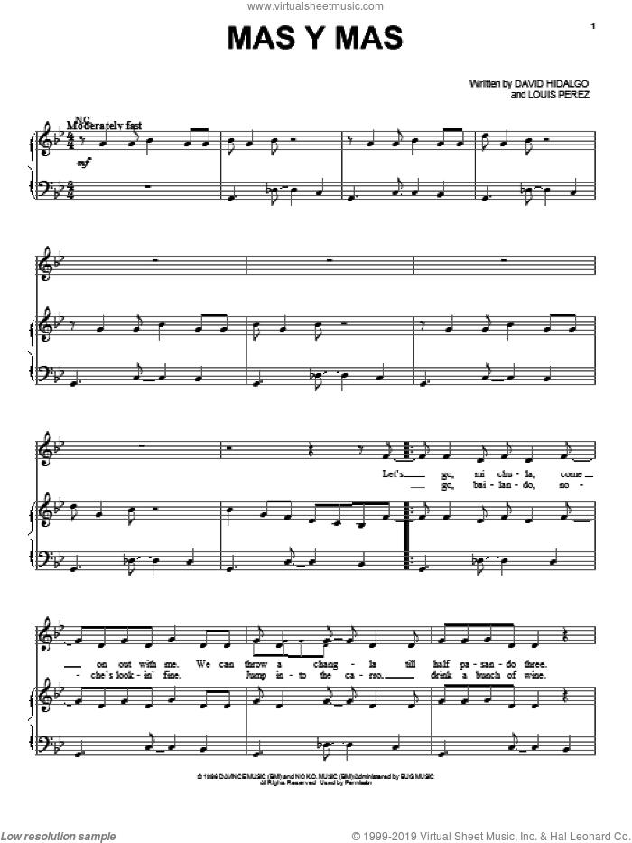 Mas Y Mas sheet music for voice, piano or guitar by Los Lobos, intermediate skill level