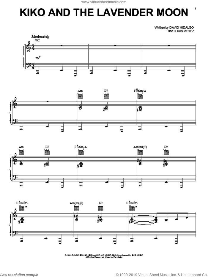 Kiko And The Lavender Moon sheet music for voice, piano or guitar by Los Lobos, intermediate skill level