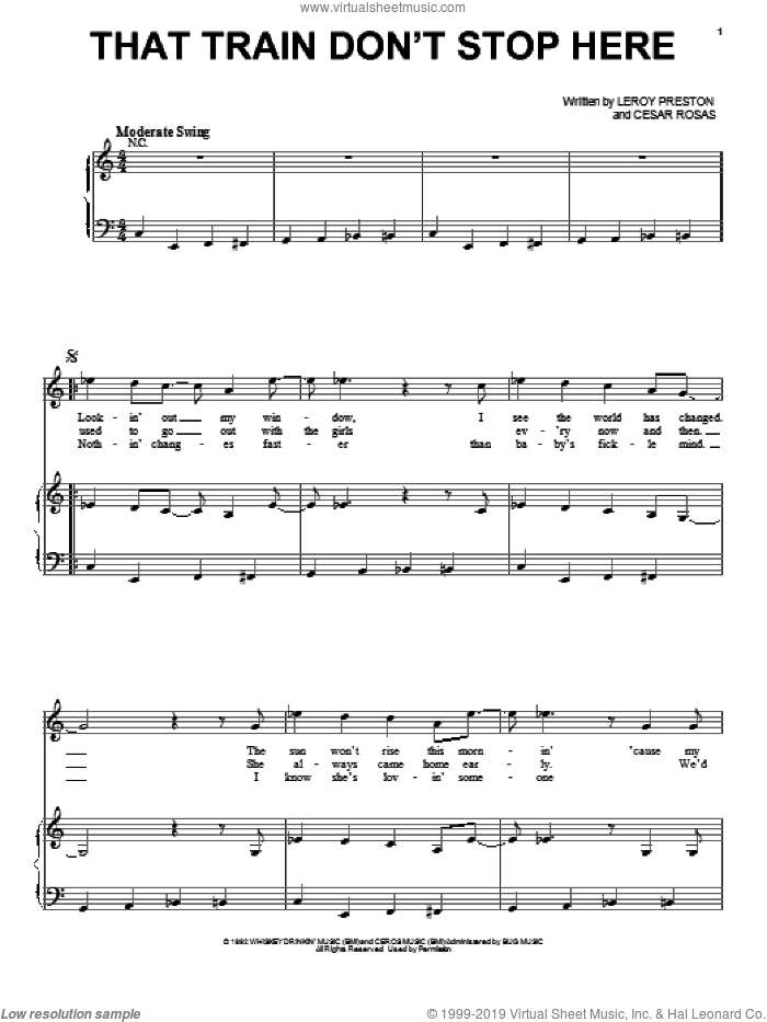 That Train Don't Stop Here sheet music for voice, piano or guitar by Los Lobos, intermediate skill level