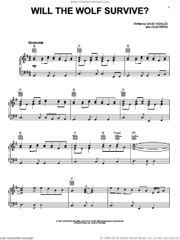 Will The Wolf Survive? sheet music for voice, piano or guitar by Los Lobos. Score Image Preview.