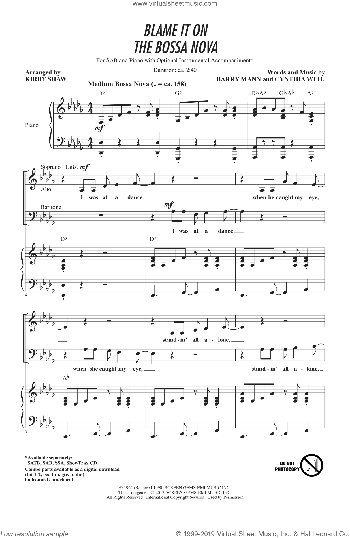 Blame It On The Bossa Nova sheet music for choir (SAB: soprano, alto, bass) by Barry Mann, Cynthia Weil, Eydie Gorme and Kirby Shaw, intermediate