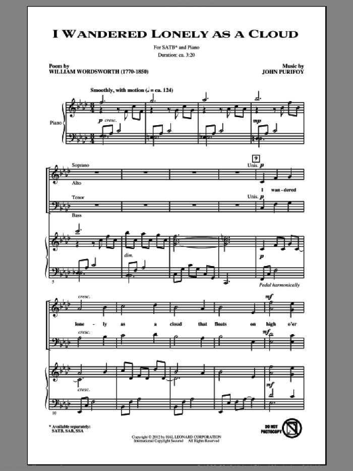 I Wandered Lonely As A Cloud sheet music for choir (SATB) by John Purifoy, intermediate choir (SATB). Score Image Preview.