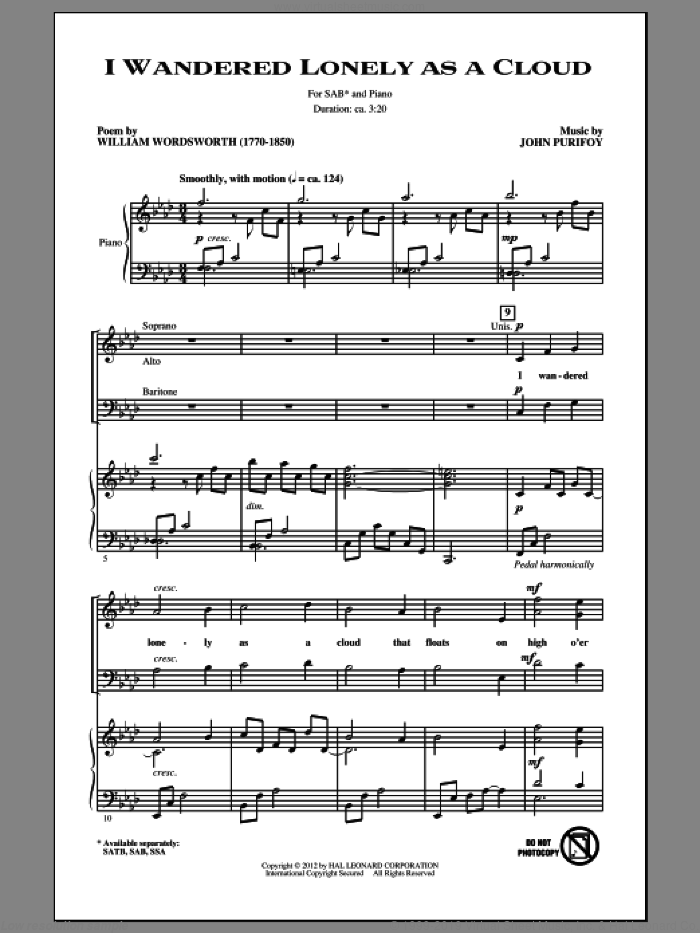 I Wandered Lonely As A Cloud sheet music for choir (SAB) by John Purifoy. Score Image Preview.