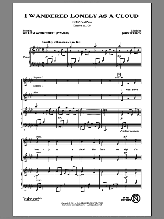 I Wandered Lonely As A Cloud sheet music for choir (SSA: soprano, alto) by John Purifoy, intermediate