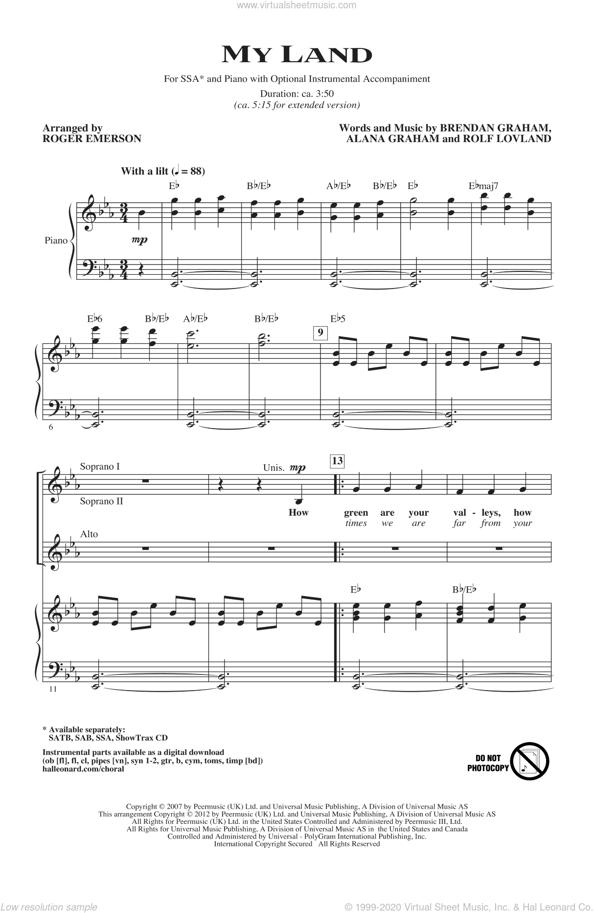 My Land sheet music for choir and piano (SSA) by Alana Graham, Brendan Graham, Roger Emerson and Rolf Lovland