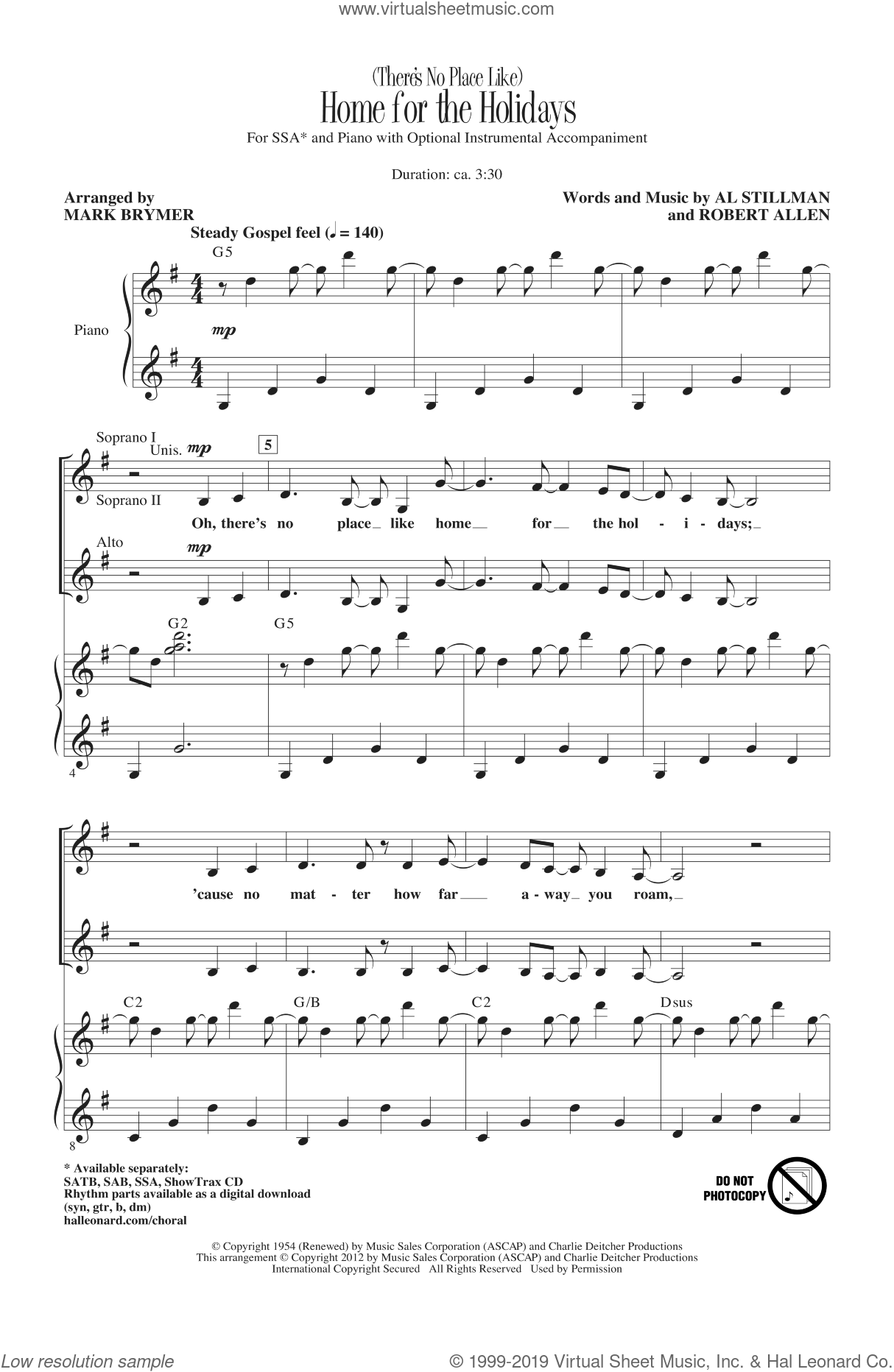 (There's No Place Like) Home For The Holidays sheet music for choir (soprano voice, alto voice, choir) by Mark Brymer, Al Stillman, Perry Como and Robert Allen. Score Image Preview.