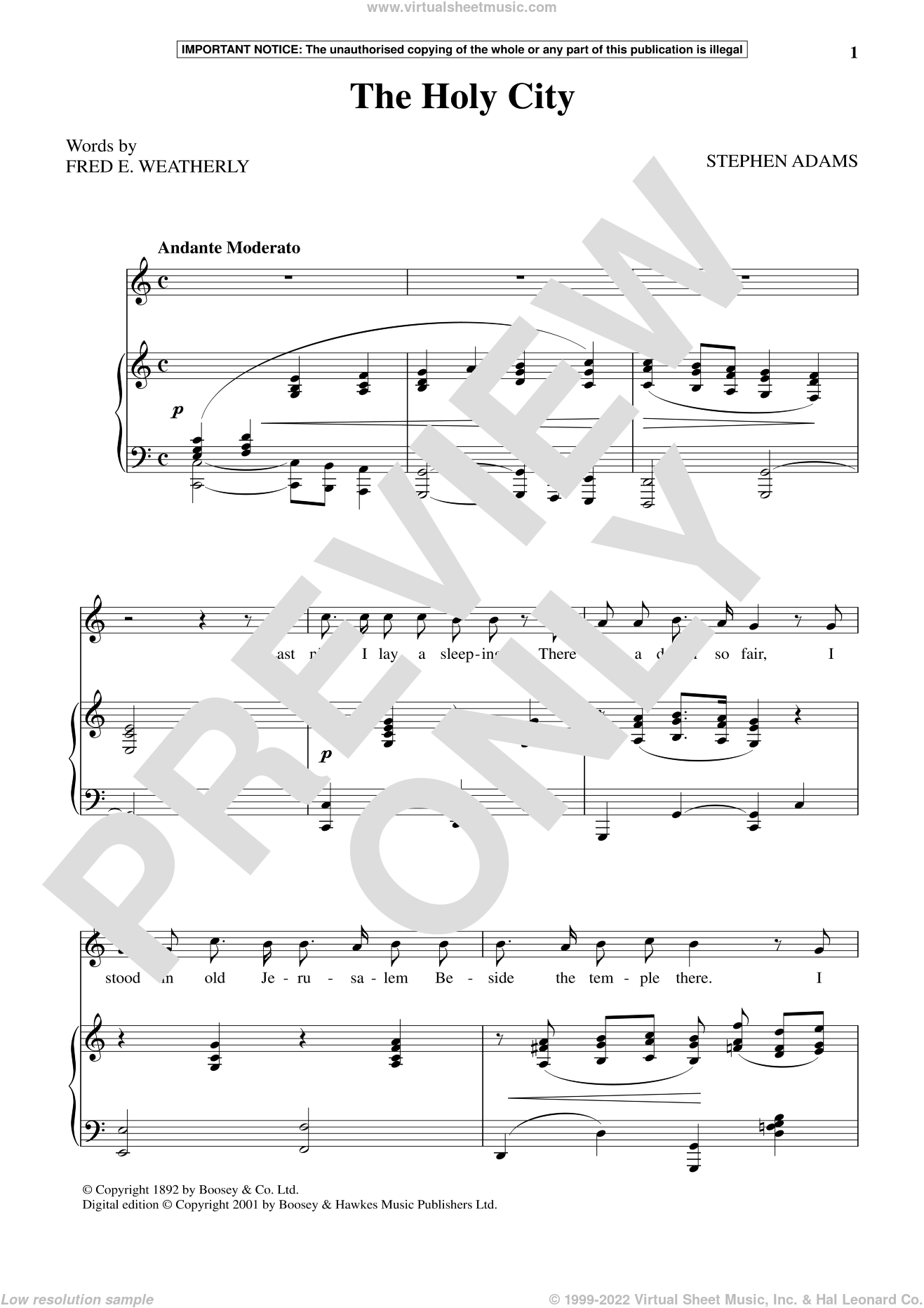 The Holy City sheet music for voice and piano by Stephen Adams, classical score, intermediate skill level