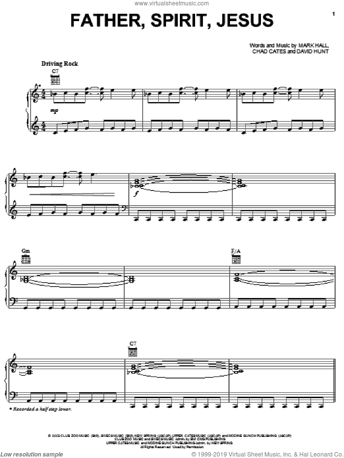 Father Spirit Jesus sheet music for voice, piano or guitar by Casting Crowns, Chad Cates, David Hunt and Mark Hall, intermediate. Score Image Preview.
