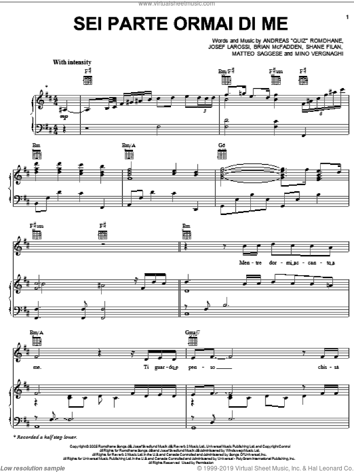 Sei Parte Ormai Di Me sheet music for voice, piano or guitar by Shane Filan, Il Divo, Brian McFadden, Josef Larossi and Matteo Saggese