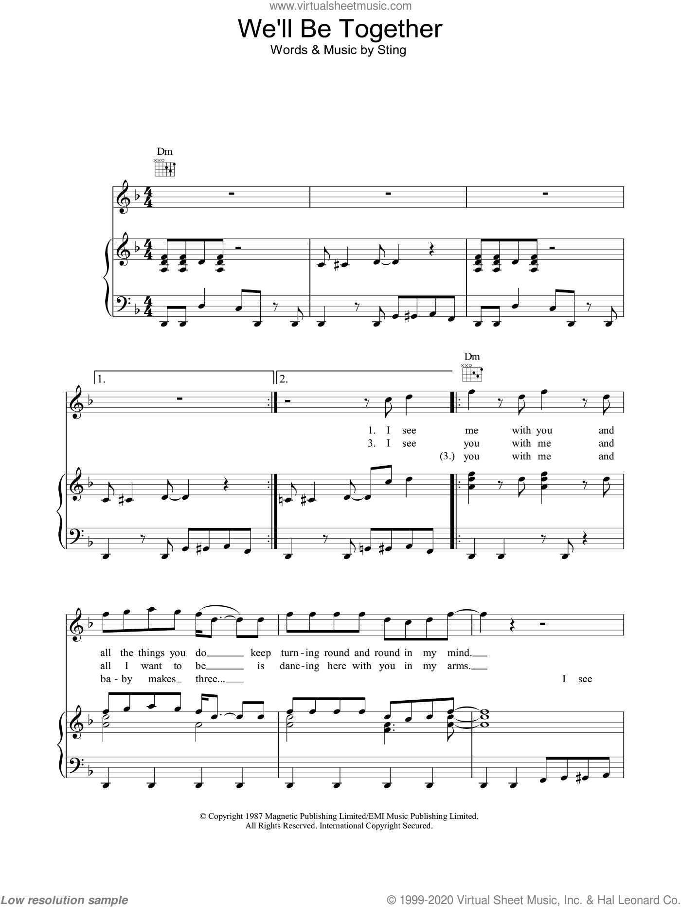We'll Be Together sheet music for voice, piano or guitar by Sting. Score Image Preview.