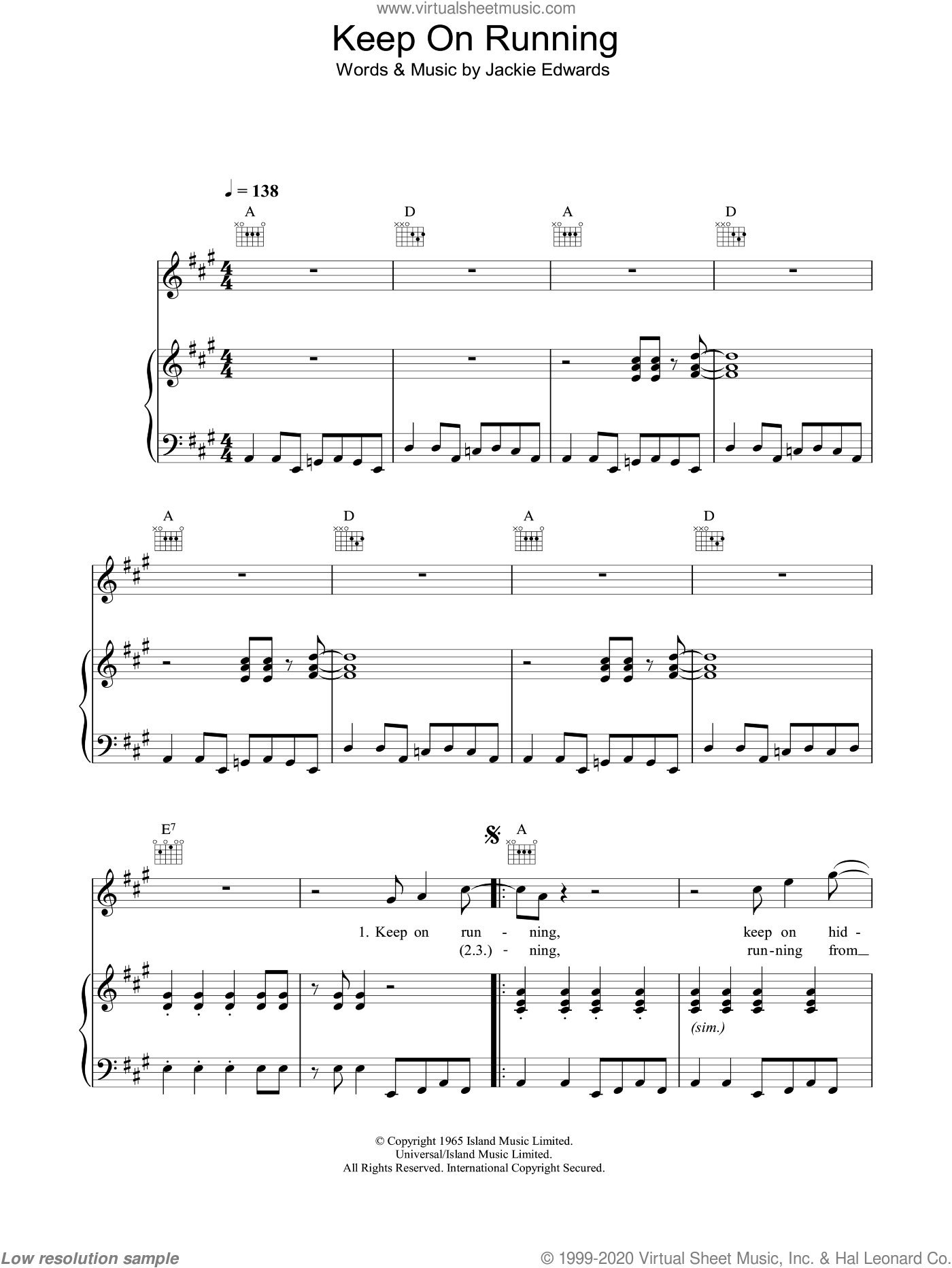 Keep On Running sheet music for voice, piano or guitar by The Spencer Davis Group and Jackie Edwards, intermediate skill level