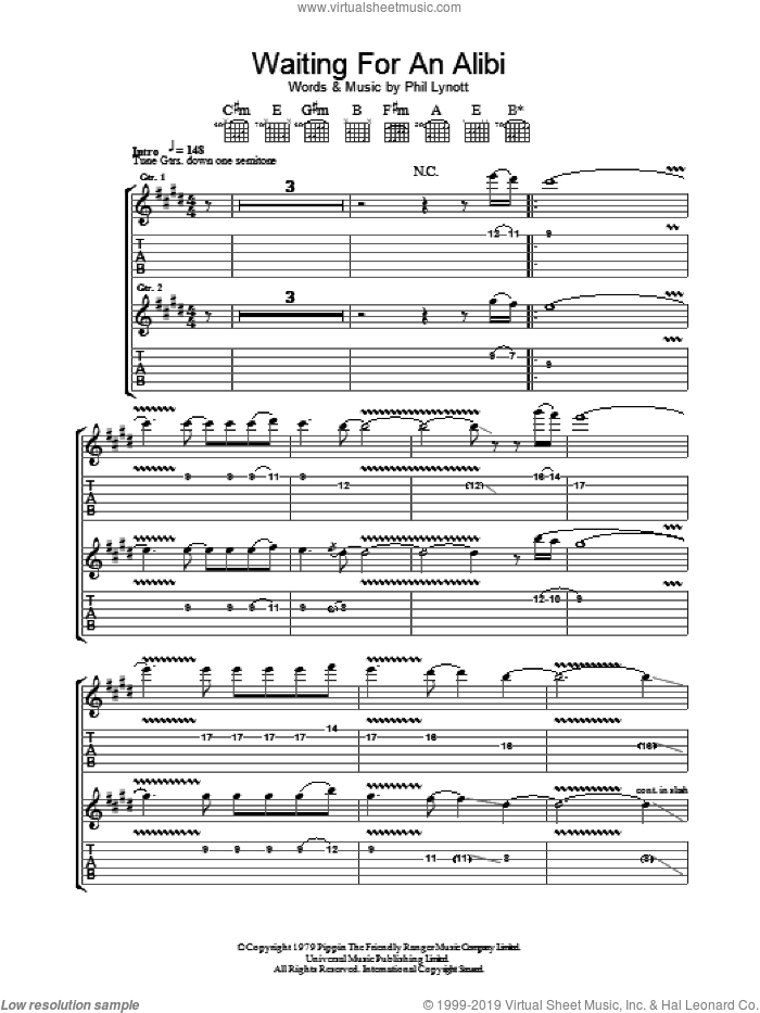 Waiting For An Alibi sheet music for guitar (tablature) by Phil Lynott and Thin Lizzy. Score Image Preview.