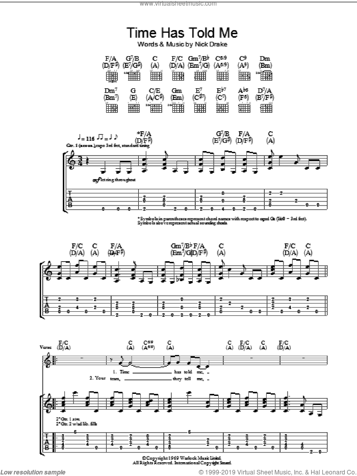 Time Has Told Me sheet music for guitar (tablature) by Nick Drake. Score Image Preview.