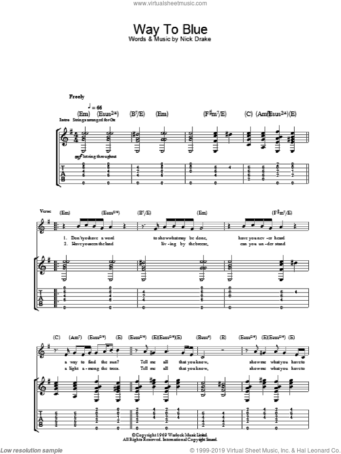Way To Blue sheet music for guitar (tablature) by Nick Drake. Score Image Preview.