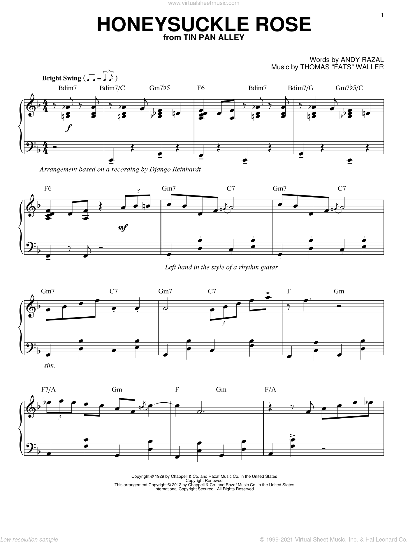 Honeysuckle Rose sheet music for piano solo by Django Reinhardt. Score Image Preview.