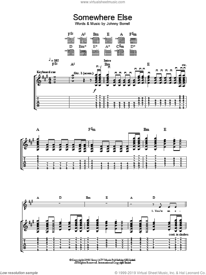 Somewhere Else sheet music for guitar (tablature) by Razorlight and Johnny Borrell, intermediate skill level