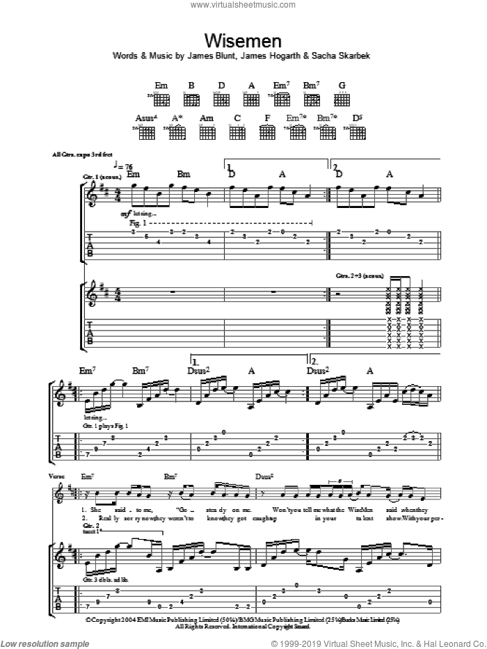 Wisemen sheet music for guitar (tablature) by James Blunt, James Hogarth and Sacha Skarbek, intermediate skill level