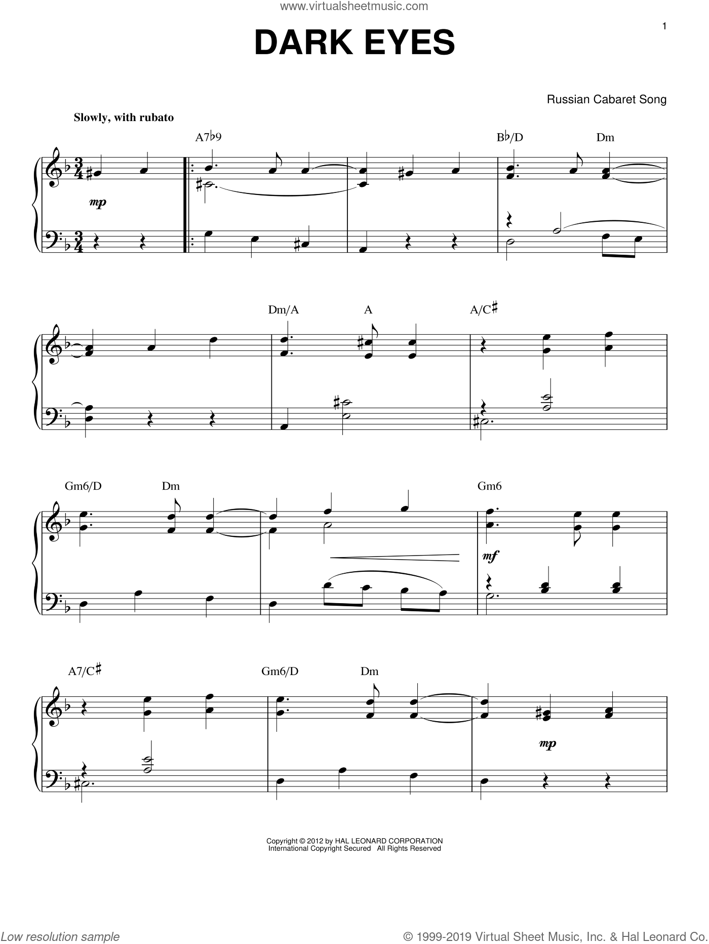 Dark Eyes (arr. Brent Edstrom) sheet music for piano solo by Django Reinhardt and Miscellaneous, intermediate skill level