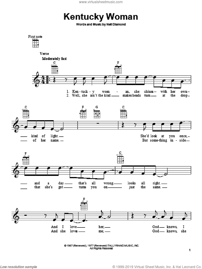 Kentucky Woman sheet music for ukulele by Neil Diamond, intermediate. Score Image Preview.