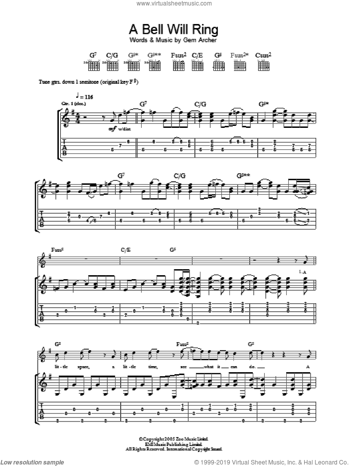 A Bell Will Ring sheet music for guitar (tablature) by Oasis, intermediate guitar (tablature). Score Image Preview.