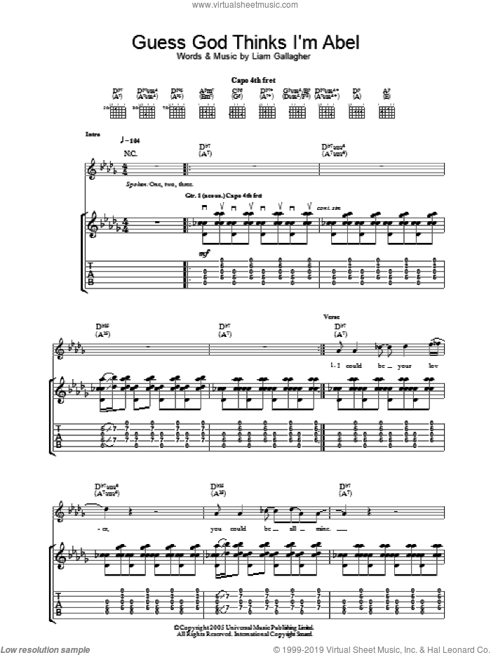 Guess God Thinks I'm Abel sheet music for guitar (tablature) by Liam Gallagher and Oasis. Score Image Preview.