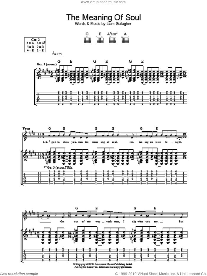 The Meaning Of Soul sheet music for guitar (tablature) by Liam Gallagher and Oasis. Score Image Preview.