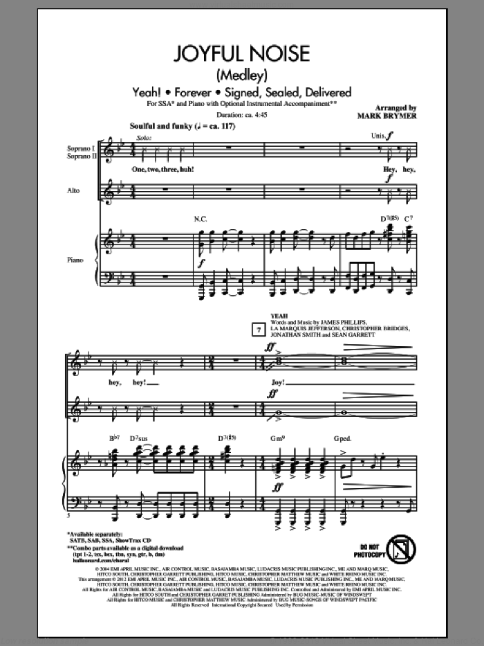 Joyful Noise (Medley) sheet music for choir (SSA: soprano, alto) by Mark Brymer, intermediate