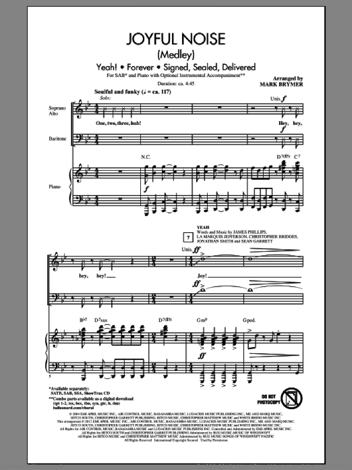 Joyful Noise (Medley) sheet music for choir (SAB: soprano, alto, bass) by Mark Brymer, intermediate skill level