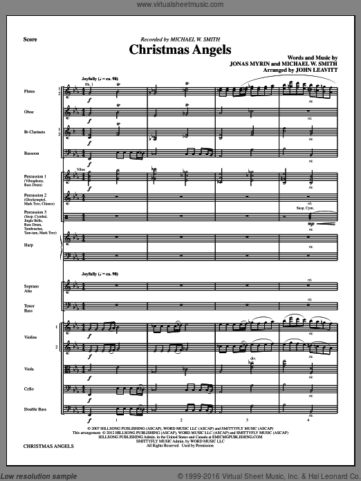 Christmas Angels (COMPLETE) sheet music for orchestra by Michael W. Smith, Jonas Myrin and John Leavitt. Score Image Preview.