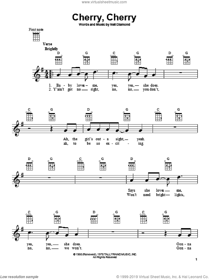 Cherry, Cherry sheet music for ukulele by Neil Diamond, intermediate. Score Image Preview.