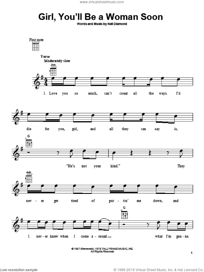Girl, You'll Be A Woman Soon sheet music for ukulele by Neil Diamond, intermediate skill level