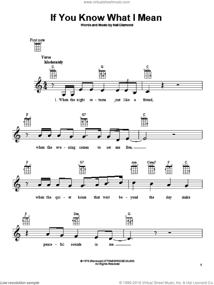 If You Know What I Mean sheet music for ukulele by Neil Diamond. Score Image Preview.