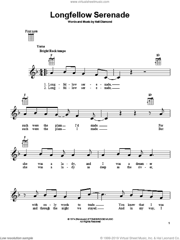 Longfellow Serenade sheet music for ukulele by Neil Diamond, intermediate skill level