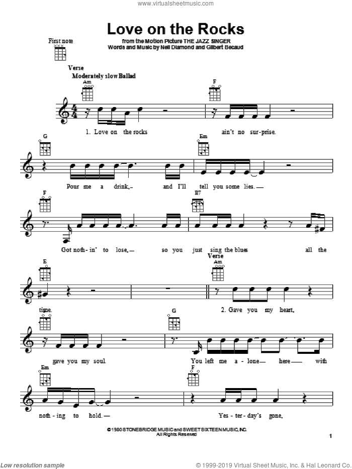 Love On The Rocks sheet music for ukulele by Neil Diamond. Score Image Preview.