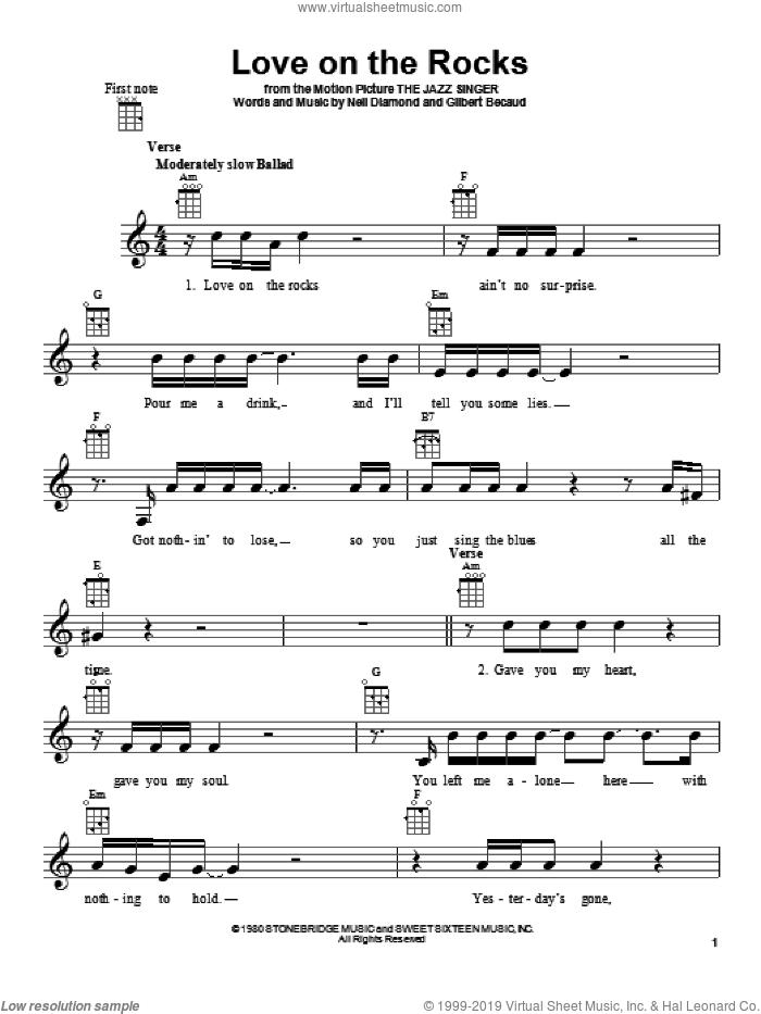 Love On The Rocks sheet music for ukulele by Neil Diamond, intermediate skill level
