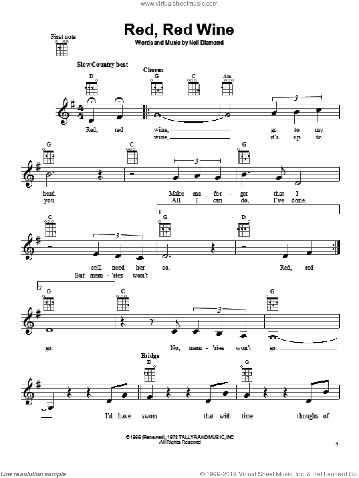 Red, Red Wine sheet music for ukulele by Neil Diamond, intermediate skill level