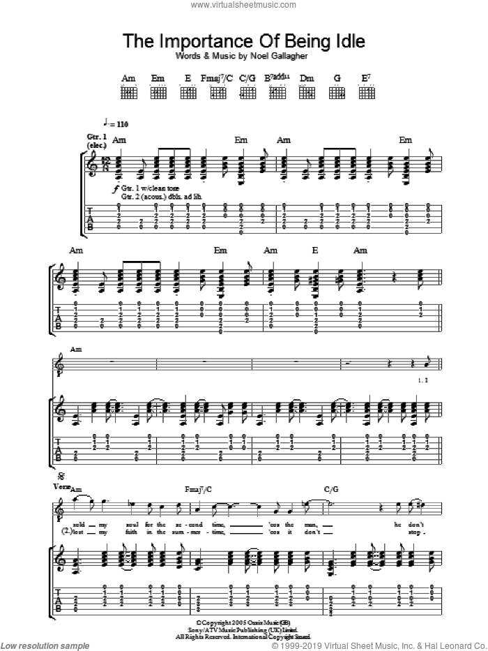 The Importance Of Being Idle sheet music for guitar (tablature) by Oasis and Noel Gallagher, intermediate skill level
